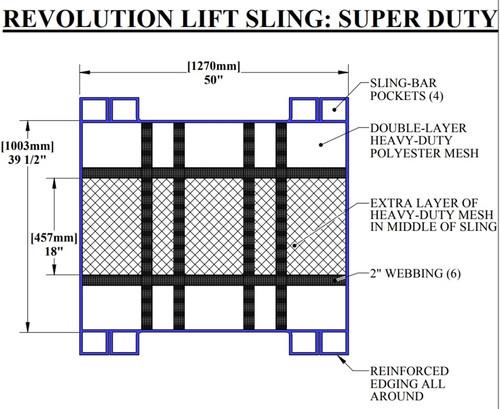 "Extra Large Revolution Super Duty Sling w/ Bars, 500 lb Cap, 50""L x 39.5""W"