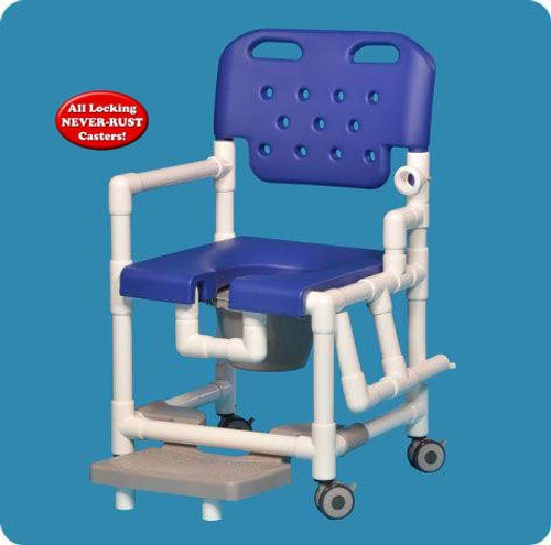 Elite Shower Chair Commode With Slideout Footrest And Left Drop Arm
