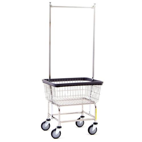Narrow Laundry Cart w/ Double Pole Rack