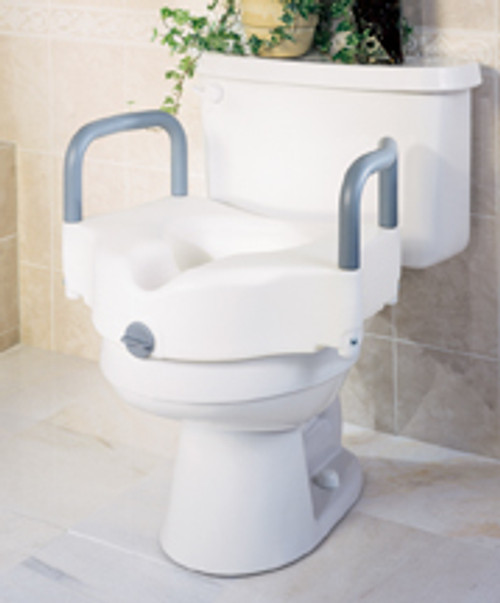 "Locking Raised 5"" Toilet Seat with Arms"