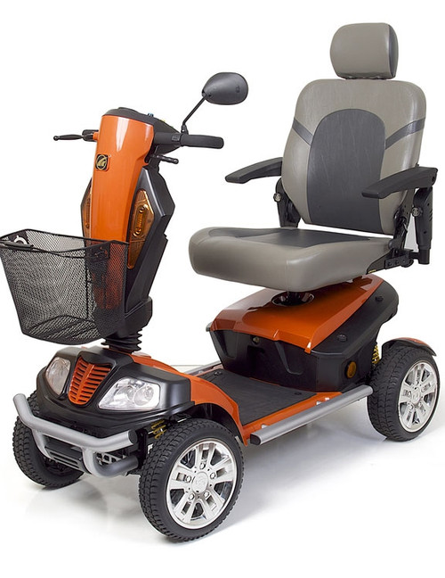 """Golden Patriot 4 Wheel Scooter indoor/outdoor mobility scooter with captain's seat. Includes off road package featuring: Multi terrain accessibility, full lighting, 13"""" solid low profile tires."""