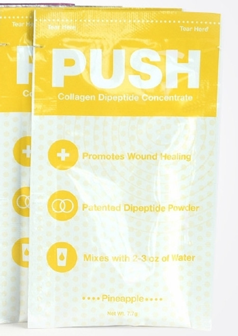 Oral Supplement PUSH Collagen Dipeptide Concentrate Pineapple 7.7 Gram Individual Packet Powder