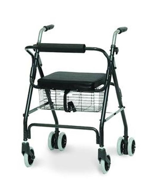 aluminum rollator with pushdown brakes & basket