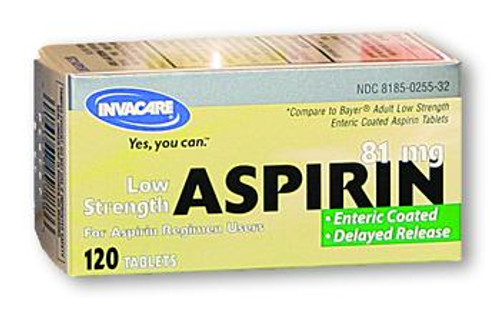 Invacare 81 mg Aspirin Enteric Coated