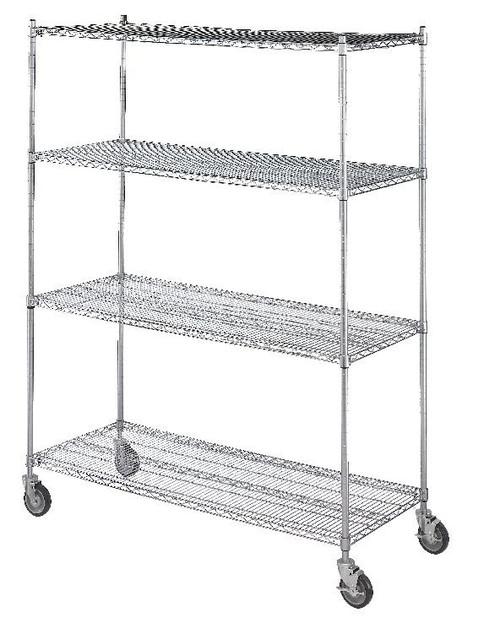 Linen Cart 24x60x72, 4 Wire Shelves