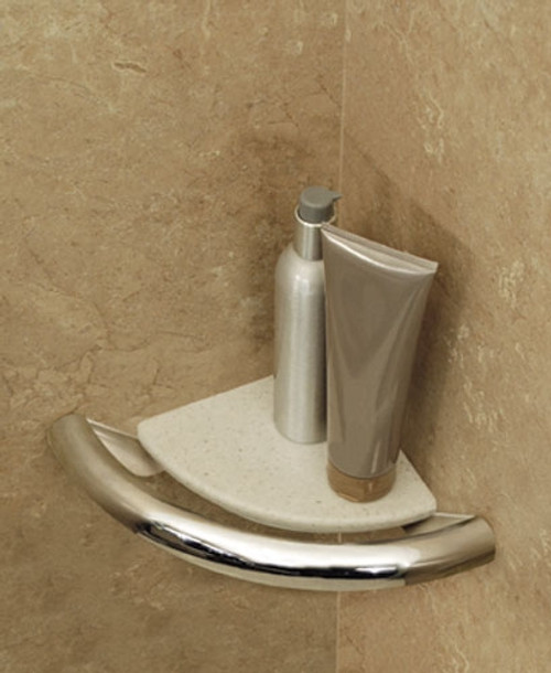 Invisia Collection: Corner Shelf & Integrated Support Rail - Brushed Stainless Steel
