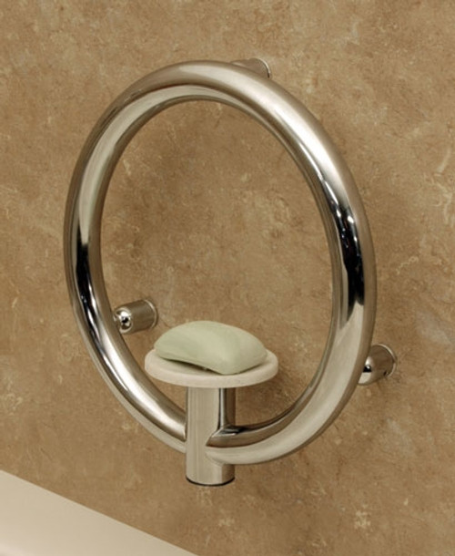 Invisia Collection: Soap Dish & Integrated Support Rail - Polished Chrome on Stainless Steel