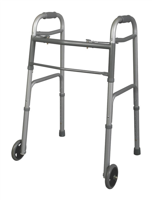 "Youth Two-Button Folding Walkers with 5"" Wheels"