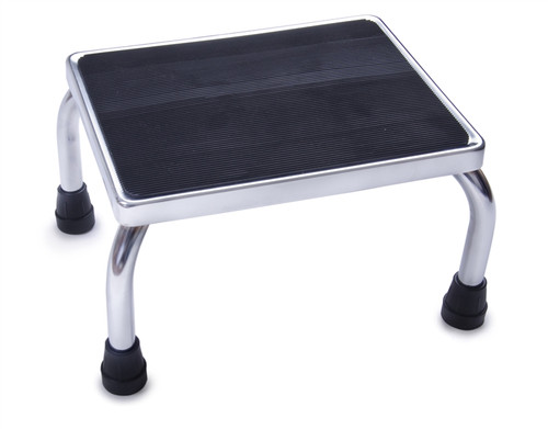 Chrome Footstool with Rubber Mat