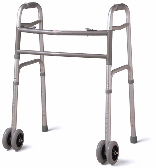 """Extra-Wide Two-Button Walker With Dual 5"""" Wheels"""