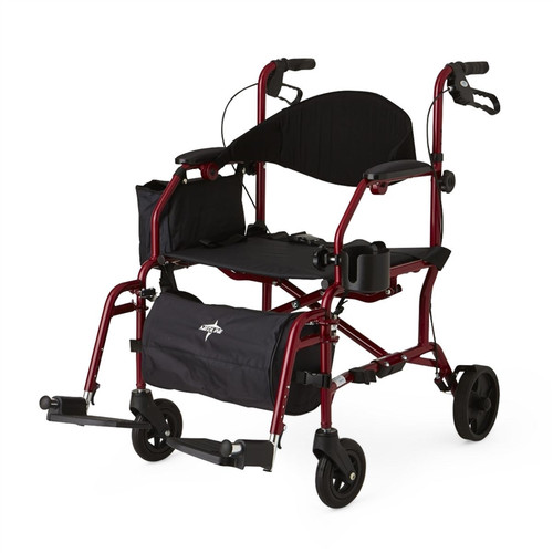 Combination Rollator/Transport Chair, Red