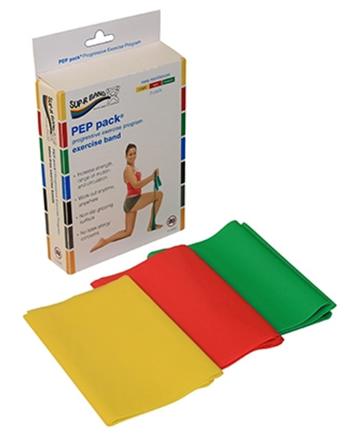 supr band latex free exercise band pep pack 3piece set
