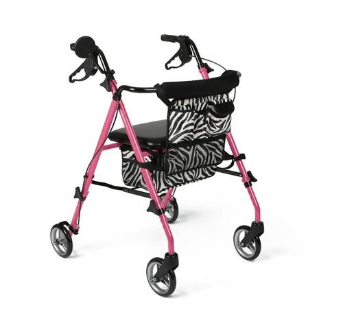 "Posh Pink Zebra Rollator, Pink, 6"""