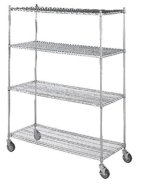 Linen Cart 18x60x72 , 4 Wire Shelves