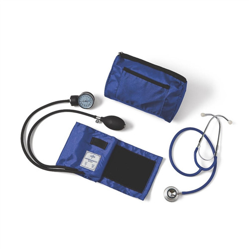 Compli-Mates Dual Head Aneroid Sphygmomanometer Combination Kits, Royal Blue, Adult