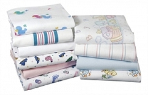 Kuddle-Up Flannel Baby Blankets, White w/Pink and Blue Border