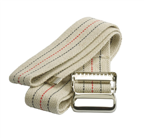 Washable Cotton Material Gait Belts, Natural W/Blue & Red Stripes