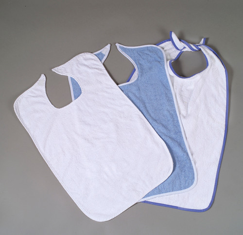 EZ Tie Adult Clothing Protectors - White with Blue
