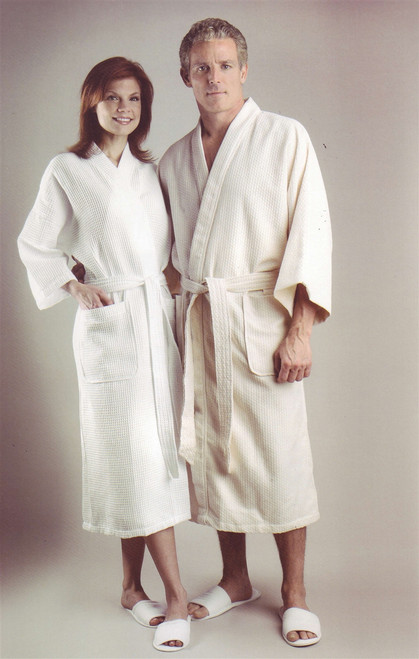 Diamond Waffle Weave Patient Robes, White