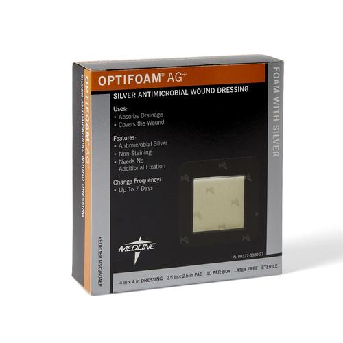 """Optifoam Antimicrobial Adhesive Dressings, 2.5"""" x 2.5"""""""