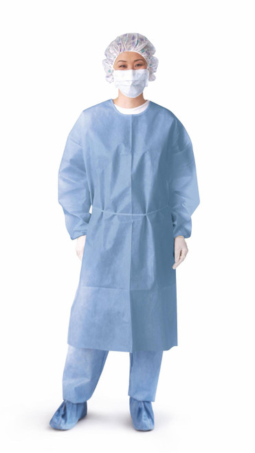 Closed Back Coated Polypropylene Isolation Gowns, Blue