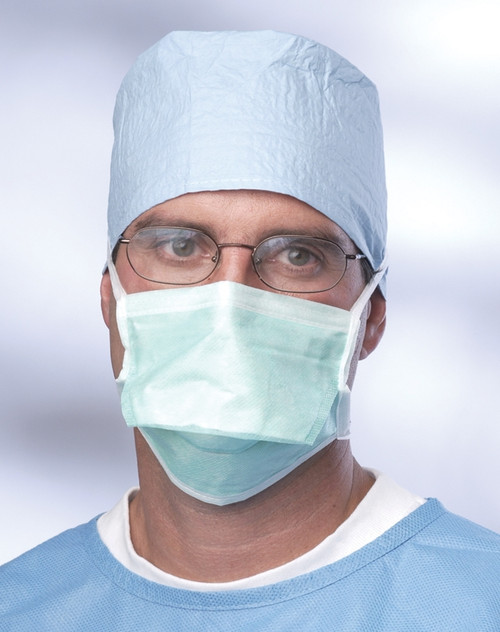 Anti-Fog Chamber-Style Surgical Face Mask w/Foam Strip, Green