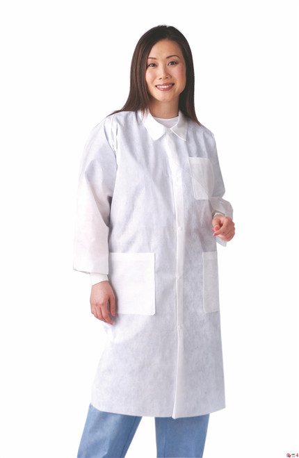 Disposable Knit Cuff / Traditional Collar Multi-Layer Lab Coats, White, Small