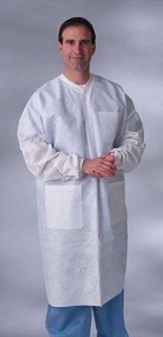 Knit Cuff/Collar Multi-Layer Material Lab Coats