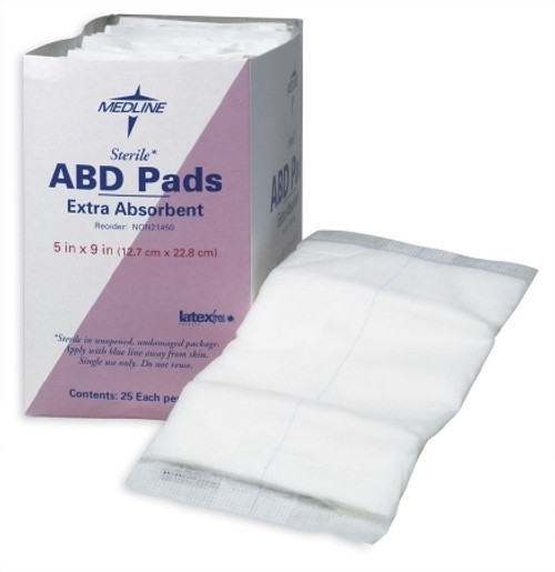 Abdominal Pad NonWoven / Cellulose / Moisture Barrier Sterile