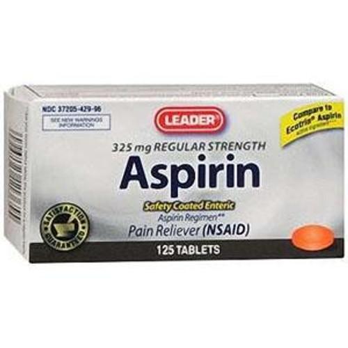 Leader Regular Strength Aspirin Tablets 325 mg (125 Count) - Item #: PH3679529