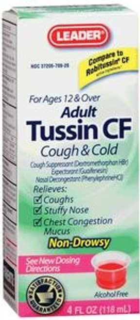 Leader Tussin CF For Cough and Cold Relief Liquid Formula, 4 oz. - Item #: PH3706819