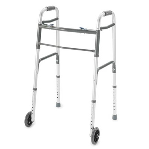 ProBasics Deluxe Two-Button Folding Walker, Wheels Installed, Carton of 4, PB1062