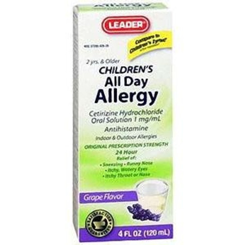 Leader Children's Allergy Relief Grape Syrup, 4 oz. - Item #: PH4029260