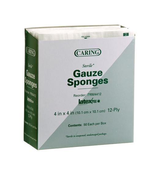 Caring Woven Sterile Gauze Sponges