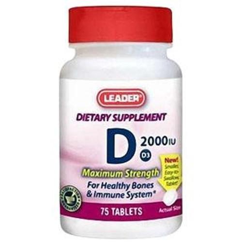 Leader Vitamin D3 Tablets, 2000IU (75 Count) - Item #: PH4264420