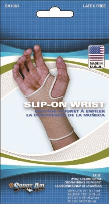 Wrist Support Pull On Knitted Elastic Left or Right Hand Beige Small
