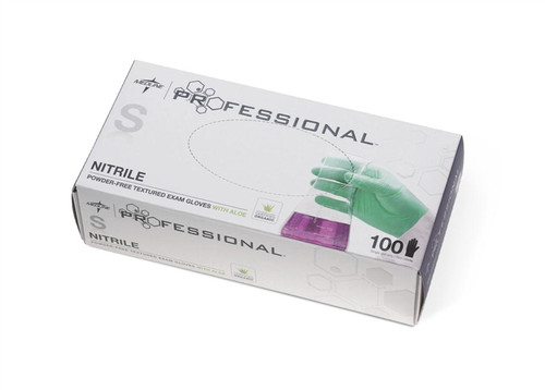 Medline Professional Nitrile Exam Gloves with Aloe, Green