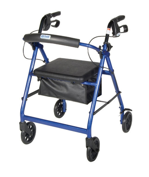 "Rollator with Fold Up and Removable Back Support, Padded Seat, 6"" Casters with Loop Locks"