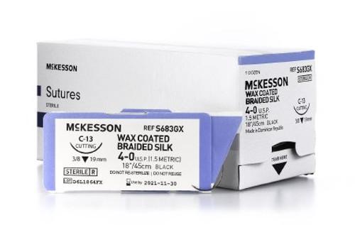 McKesson Nonabsorbable Black Braided Silk uncoated