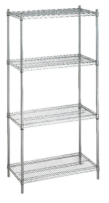 Shelving Unit 24x60x72 (w/o Casters), 4 Wire Shelves