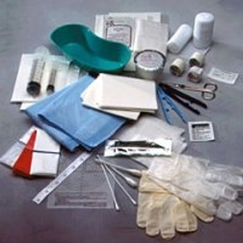Debridement Kit Tray Iris Straight Stainless Steel Scissors Fla Wrap Bag Medium Powder Free Wrapped Cuffed Pair Gloves
