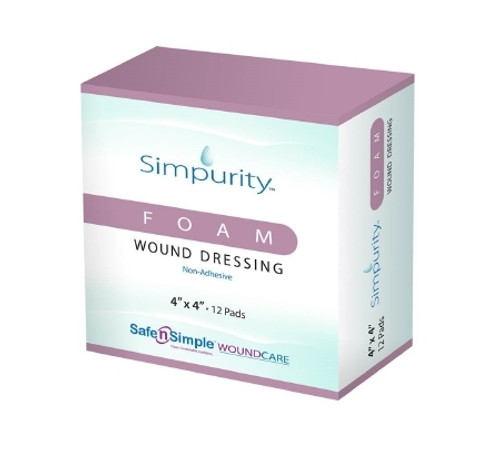 Foam Dressing Simpurity Square Non-Adhesive without Border Sterile