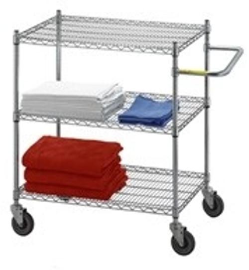 Linen Cart 18x36x42, 3 Wire Shelves