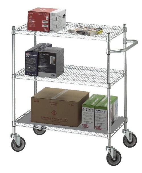 Linen Cart 18x36x42 w/Solid Bottom 16 gauge Chrome Plated Shelf