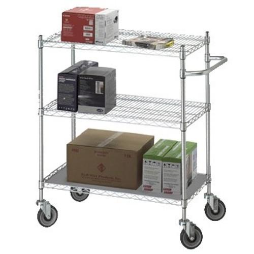 Linen Cart 24x36x42 w/Solid Bottom 16 gauge Chrome Plated Shelf
