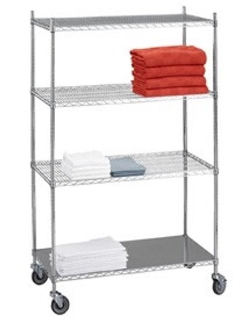 Linen Cart 24x48x42 w/Solid Bottom 16 gauge Chrome Plated Shelf