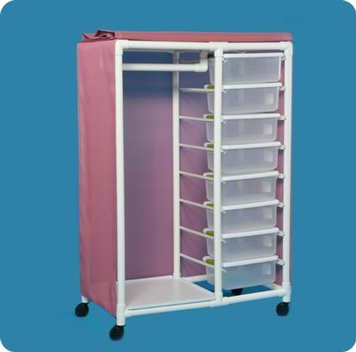 "distribution cart, 16 bins, 22 "" hanging bar"