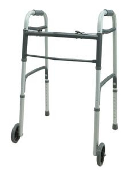 """Two Button Folding Walker with 5"""" Wheels"""