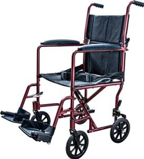 "Transport Chair with Swing Away Foot Rest 19"" Width, Aluminum, Burgundy - Item #: ZCH9201BUR"