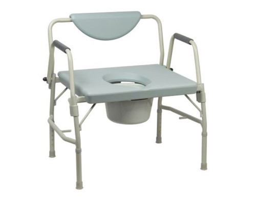 Bariatric Commode Chair McKesson Drop Arm Steel Frame Padded Back 1065226